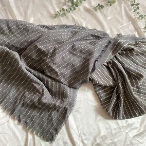 Grey and Wool Dots Large Square Scarf